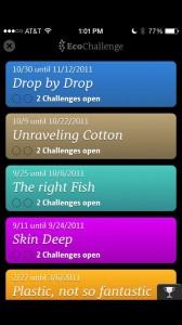 Screenshot of past topics on the EcoChallenge App