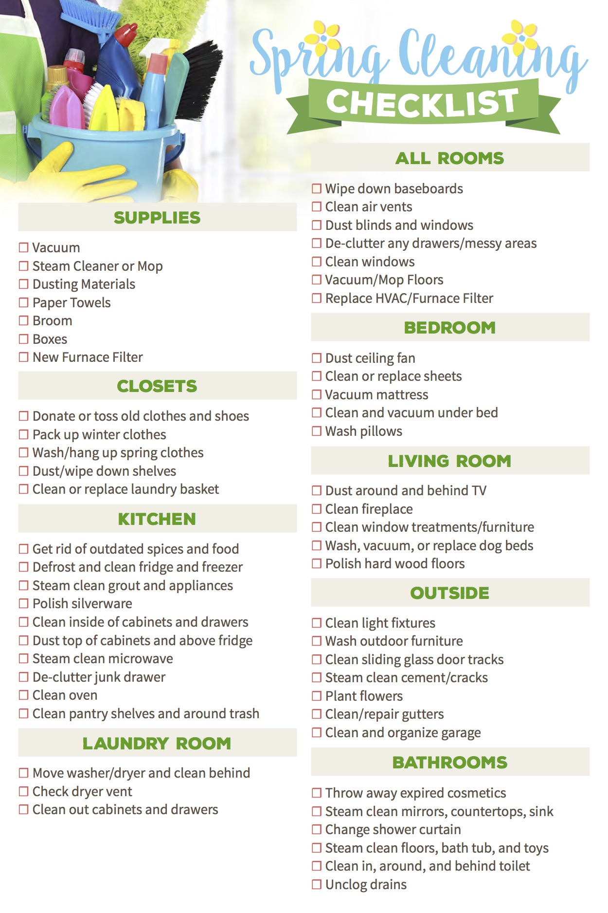 photo relating to Spring Cleaning Checklist Printable identify Final 10 Spring Cleansing Ideas Insider secrets for 2019 Sylvane