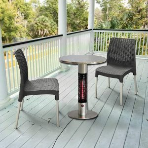 table with heater on a patio