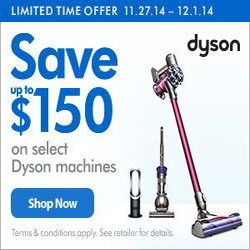 Up to $150 Off Dyson Vaccums and Heaters